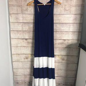 Charming Charlie Blue White Striped Maxi Dress